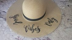 Good Vibes Only Embroidered Floppy Hat  Beach by LifeHasJustBegun