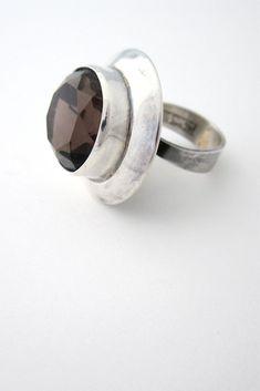 Erik Granit large silver & smoky quartz statement ring #Finland #ring