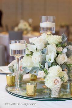 HEPATICA wedding florals (white calla lilies, blush roses, and dusty miller) – photo: QUARTER design studio