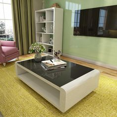 Get Your Coffee Table With Black Glass Top Now At Amonet. Shop Now Coffee Table With Black Glass Top Best Price Guaranteed Furniture, High Gloss Paint, Matte Paint, Glass Top, Table, Home Decor, Black Glass, Glass, Coffee Table