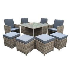 mijas 8 seater garden cube set brown rattan the rattan garden cube sets are very popular they are a contemporary and stylish addition to any garde - Garden Furniture 8 Seater