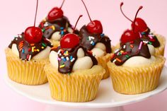 Banana Split Cupcakes...I think I've pinned these before...but just in case.