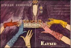 Sophisticated 1955 ad for Kayser Gloves. #vintage #1950s #gloves #ads