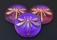 Hand Made Art Czech Glass Button Cabochon by ScaraBeads on Etsy