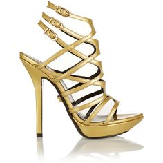 Versace Metallic leather sandals ($558) ❤ liked on Polyvore featuring shoes, sandals, heels, high heels, sapatos, gold, strappy platform sandals, strappy sandals, strap sandals and leather sandals