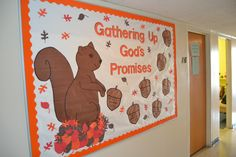 Gathering Up God's Promises Religious Bulletin Boards, Christian Bulletin Boards, Preschool Bulletin Boards, Classroom Bulletin Boards, Classroom Decor, Bible Study Crafts, Bible Study For Kids, Sunflower Bulletin Board, Forest Animal Crafts
