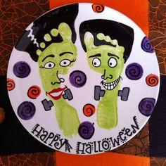 Here's a fun idea! Halloween footprints! Ceramic paint your own potter and more!
