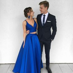 Sexy Royal Blue Two-Piece Long Prom Dress Sexy Prom Dress, Long Prom Dress, Prom Dress, Prom Dress Two Piece, Prom Dress Blue Prom Dresses Long Royal Blue Prom Dresses, Princess Prom Dresses, Prom Dresses Two Piece, Blue Evening Dresses, Evening Gowns, Senior Prom Dresses, V Neck Prom Dresses, Prom Dresses 2018, Dress Prom