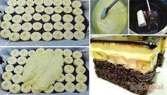 Pompás, banános-kakaós szelet | TopReceptek.hu Banana Cream Cakes, Chocolate Glaze, Vanilla Cake, Food Inspiration, Biscuits, Cooking, Ethnic Recipes, Party, Cake Ideas