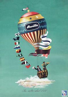Due esploratori solcano i cieli su una colorata mongolfiera: mentre uno saluta l'oggi l'altro scruta il domani.