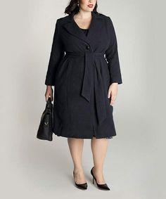 Look at this #zulilyfind! Black Hanna Wool Trench Coat - Plus by IGIGI #zulilyfinds