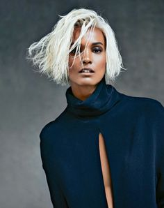 Model Liya Kebede sheds her dark cover girl tresses for platinum blonde in her editorial for Marie Claire France October Tiziano Magni lenses the sultry stunner, with all black and navy, sexy luxe styling by Jonathan Huguet. Liya Kebede, Dark Silver Hair, Dark Hair, Editorial Hair, Editorial Fashion, Marie Claire France, Platinum Blonde Hair, Blonde Twa, Mode Editorials