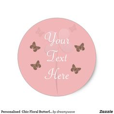 Personalised  Chic Floral Butterflies Pink Sticker