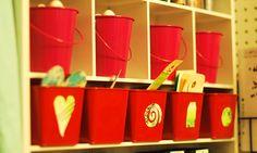 store odd shaped scraps in little bins or buckets