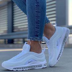 Nike Air Max 97 Source by sneakerando Shoes White Nike Shoes, Nike Air Shoes, White Nikes, Cool Nike Shoes, Popular Nike Shoes, Nike Shoes Outfits, Nike Socks, Cute Sneakers, Sneakers Nike