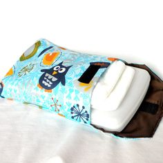 Diaper Wipes Clutch Blue Owls Nappy Travel Holder by AGraffDesigns