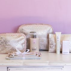 Rose Gold Cosmetic Bags & Purses with a floral design. Ecoya Beauty Products