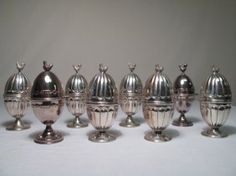 sterling silver egg cups with chicken finials