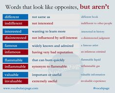 Words that look like opposites, but aren't