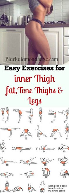 Best simple exercises to lose inner thighs fat and burn belly fat; tone thighs, legs and slimming waistline fast. It will not take more than 10 minutes for each workout every day and you are guarantee (More Minutes)
