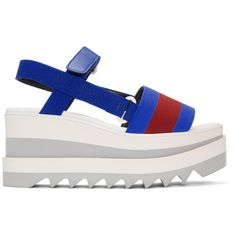 Stella McCartney Blue and Red Striped Platform Slide Sandals ($495) ❤ liked on Polyvore featuring shoes, sandals, blue, slide sandals, rubber platform sandals, ankle wrap sandals, blue sandals and platform shoes