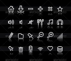 Simple icons on black background - Set 1