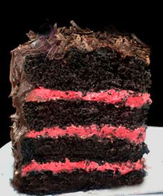 One Bowl Deep Dark Chocolate Cake with the most amazing Fresh Raspberry Buttercream.  Perfect for Valentines Day!