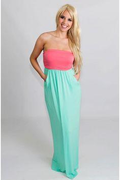 Pink Aqua Strapless Maxi Dress - New Arrivals