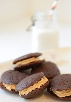 Paleo Chocolate Peanut Butter Whoopie Pies are a fabulous nut-free dessert when Sunbutter is used in the filling.