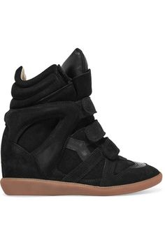 ISABEL MARANT Bekett Leather-Trimmed Suede Wedge Sneakers. #isabelmarant #shoes #sneakers
