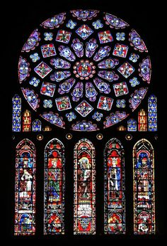 North Rose Window at Cathedral of Our Lady of Chartres in France, stained glass, circa 1220-1235