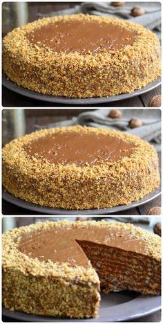 Pie Recipes, Dessert Recipes, Cooking Recipes, Desserts, Ukrainian Recipes, Russian Recipes, Pie Cake, No Bake Cake, Super Torte