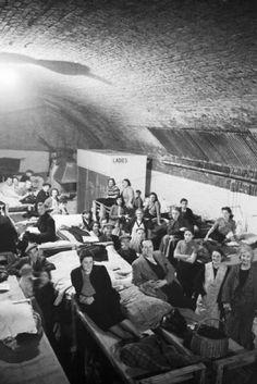 1940 - Civilians in an air raid shelter in London.