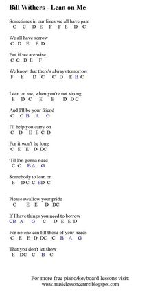 "Hi guys! Today I have created a music sheet teaching you how to play the melody for ""Lean On Me"" by Bill Withers. This song was one of my ..."