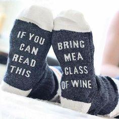 21fa9ae19 Humorous Bring Me a Glass of Wine Socks Thick Socks