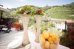 Lemon Table Arrangement on Buffet at the Buranco Vineyard, Monterosso. By Cinque Terre Wedding: www.cinqueterrewedding.com