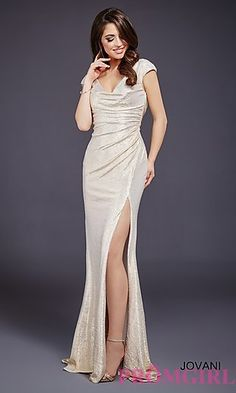 Jovani Ruched Sequin Long Prom Dress