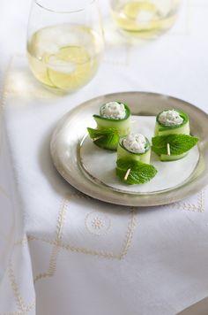 Tzatziki Cucumber roll ups-def a great entertaining idea.