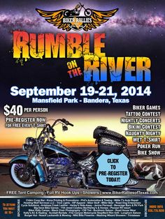 Rumble on the River ------ GOING on NOW- Sep 19th to 21st, 2014--- Bandera, TX ------  **Details at http://www.lightningcustoms.com/events/event_36214.html