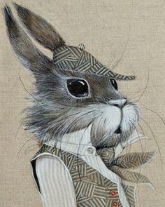 Sherlock bunny giclee print on canvas, by Olga Sugden. Animal Drawings, Cute Drawings, Illustration Art, Illustrations, Rabbit Art, Bunny Art, Funny Bunnies, Whimsical Art, Sherlock