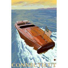Connecticut- Chris Craft Boat - Lantern Press Artwork (Acrylic Serving Tray)