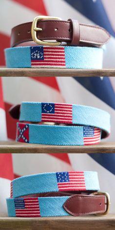 Needlepoint Flag Belts