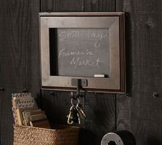 Shop framed chalkboard with hook from Pottery Barn. Our furniture, home decor and accessories collections feature framed chalkboard with hook in quality materials and classic styles. Framed Chalkboard, Wall Organization, All Wall, Home Living, Living Room, Wall Hooks, Getting Organized, Pottery Barn, House Warming