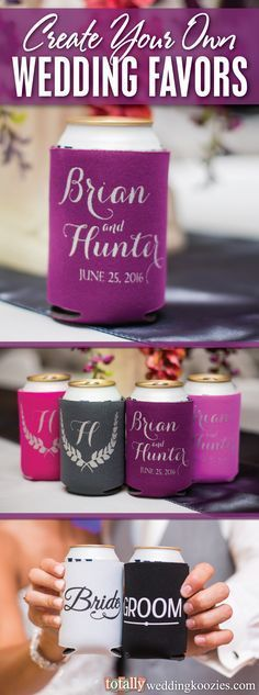 Our customizable wedding koozies offer a unique and fun way to thank your guests! This product is offered in 45 product colors with 23 imprint colors to choose from, your options are endless! Every wedding koozie order also comes with a FREE complimentary bride & groom koozie! Use coupon code PINNER10 and receive 10% off your wedding koozie order! Sale applies to piece price only, not valid with other coupon codes and expires December 31, 2016!
