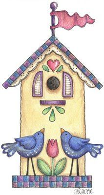 Laurie Furnell px - 33 Kb) Home Sweet Home Arte Country, Decoupage, Wal Art, Bird Houses Painted, Cute Clipart, Country Paintings, Tole Painting, Whimsical Art, Painted Rocks