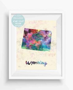 Wyoming Map,Wyoming US State,America,Watercolor,Digital Prints,Instant Download,Home decor,Office Decor,Jpeg,Wall Printable,maps
