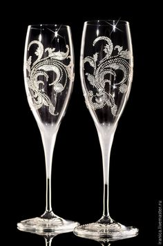 """Купить Бокалы """"Bianca"""" - серебряный, фужеры на свадьбу, фужеры для молодоженов, фужеры свадебные, фужеры для шампанского"""