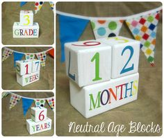 Child Baby Age Blocks Handmade Photo Prop Monthly  Colors Unique Baby Shower Nursery Room Decor on Etsy, $30.00