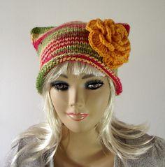 KNITTING PATTERN HAT - Slouchy Hat with Crochet Flower - Be Happy Hat - Woman Girl Winter Hat Pdf Knit Pattern Instant Download