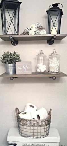 This Industrial Farmhouse Bathroom is the perfect blend of styles and creates such a cozy atmosphere! This Industrial Farmhouse Bathroom is the perfect blend of styles and creates such a cozy atmosphere! Downstairs Bathroom, Bathroom Small, Bathroom Storage, Bathroom Closet, Bathroom Cabinets, Storage Mirror, Toilet Storage, Bathroom Toilets, Bathroom Faucets